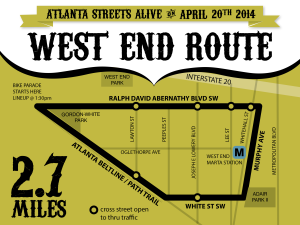 Atlanta Streets Alive, West End, community activities, close the streets, bicycles, bikes, walking, family events, community events, Easter Sunday, Easter, Sunday, Ralph David Abernathy, Beltline