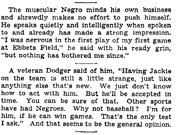 Jackie Robinson, New York Times, Aug. 16, No. 42, 42, racial barriers, barriers in sports, gay athletes, gays in sports, Michael Sam, NFL, Ebbetts Field