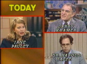 The Normal Heart, HBO, Larry Kramer, Jane Pauley, The Today Show, NBC, Harold Jaffe, AIDS, HIV, early AIDS, 1983, early TV report about AIDS