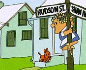 Mrs. Jones is the lady on Hudson Street... because a noun is a person, place or thing.