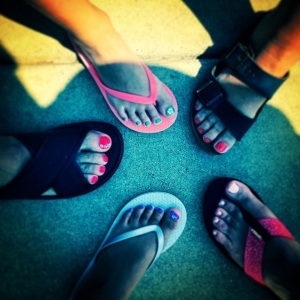 My sisters, nieces and I got our toenails painted. Nice family outing. (I'm the one with the hairy toes on the left.) Wait -- does this count as Nail Art, too?