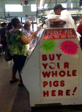 pigs, pork, butcher, Atlanta Curb Market, Municipal Market, 1924, MLK, Atlanta, buy your whole pigs here